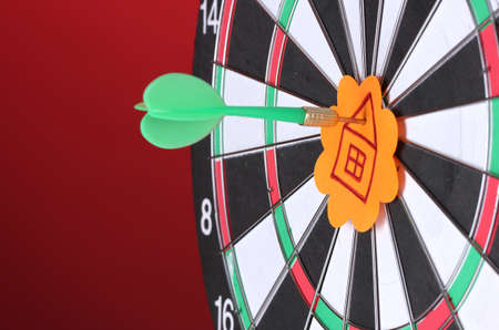 hause: Darts with stickers depicting the life values close-up on colorful background