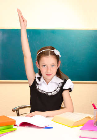 beautiful little schoolgirl in classroom photo