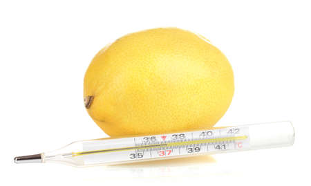 lemon and thermometer isolated on white Stock Photo - 13520671