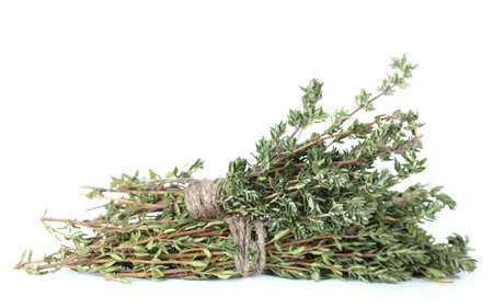 fresh green thyme isolated on white Stock Photo