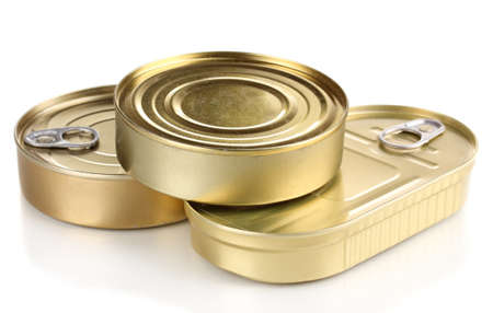 Three tin cans isolated on white Stock Photo - 13519274