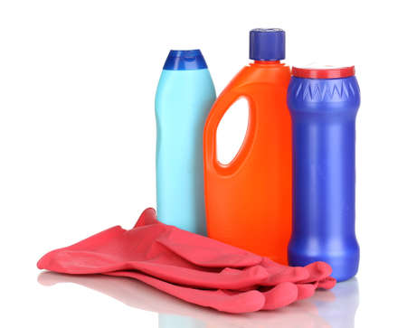Cleaning items and gloves isolated on white photo