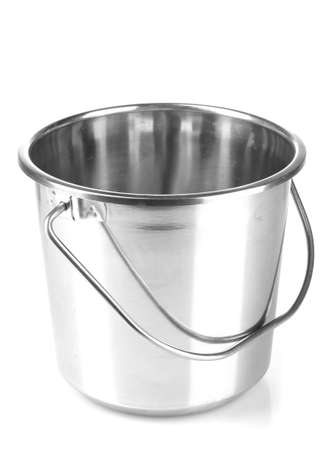 empty bucket for champagne bottle isolated on a white photo