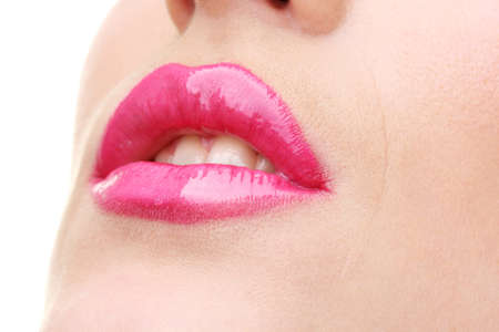 beautiful make up of glamour pink gloss lips Stock Photo - 13519001