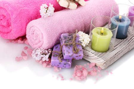 beautiful spa setting isolated on white photo