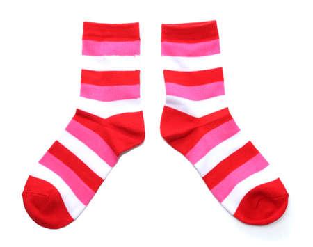 calcetines a rayas aislados en blanco