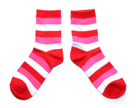 sock: striped socks isolated on white Stock Photo