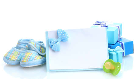 bootees: beautiful gifts, babys bootees, blank postcard and dummy isolated on white