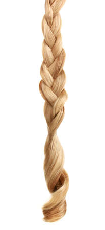 braided: Blond hair braided in pigtail isolated on white