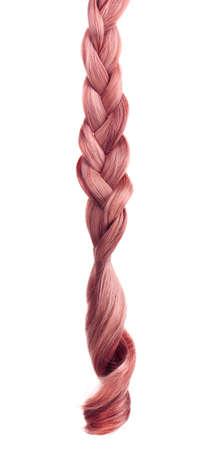 trenzado: El pelo trenzado en espiral aislado en blanco
