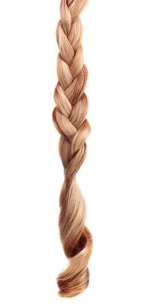 trenzado: El pelo rubio trenzado en espiral aislado en blanco Foto de archivo