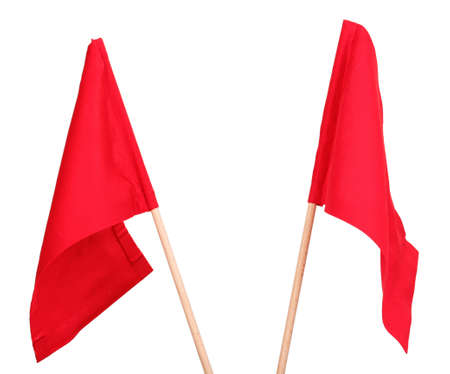 red flag: Red signal flags isolated on white
