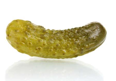 Marinated cucumber isolated on white photo