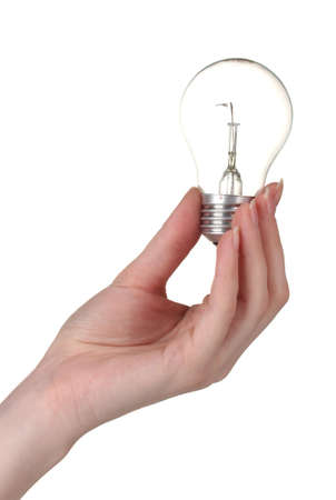 glower: Arm holding light bulb isolated on white Stock Photo
