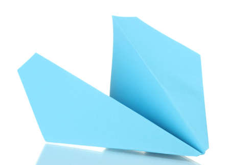 Origami paper airplane isolated on white photo