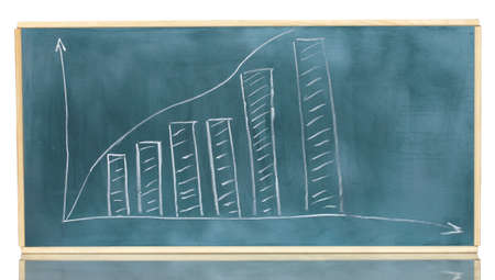 Growth chart is drawn on the blackboard isolated on white Stock Photo - 13603224