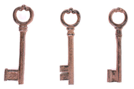 a bunch of antique keys isolated on white Stock Photo - 13648003