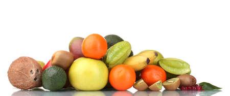 Assortment of exotic fruits isolated on white photo