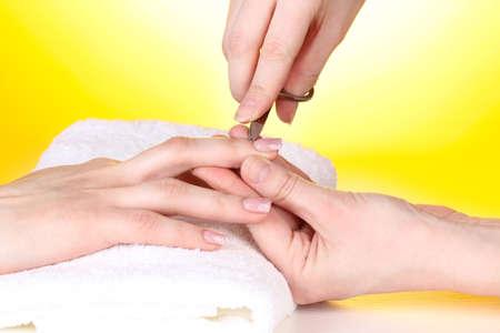 Manicure process in salon photo