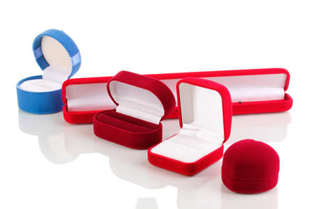 Red jewelry boxes isolated on white photo