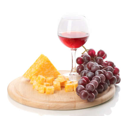 claret: Wine in wineglass and cheese isolated on white