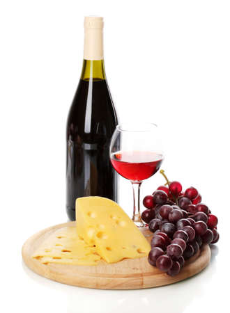 Bottle of great wine with wineglass and cheese isolated on white Stock Photo - 13647774
