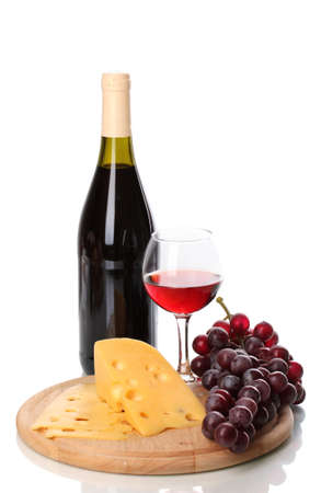 claret: Bottle of great wine with wineglass and cheese isolated on white