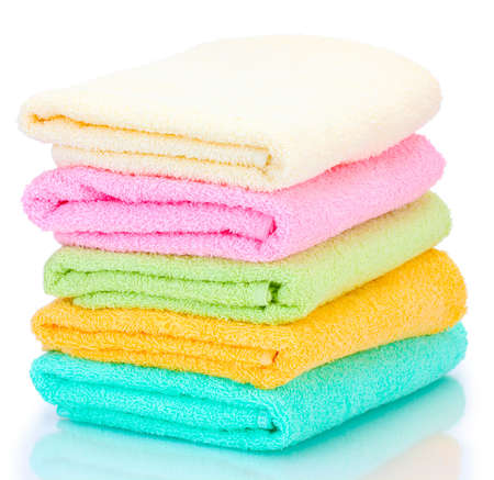 colorful towels isolated on white Stock Photo - 13649116