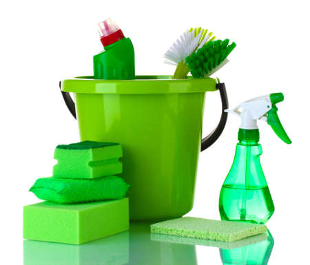 sterilize: cleaning products isolated on white