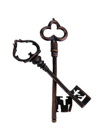 Two antique keys isolated on white Stock Photo - 13647586