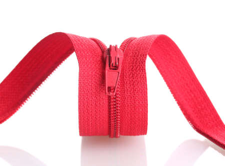 Red zipper isolated on white photo