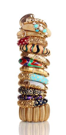 Elegant and fashion golden bracelets isolated on white background Stock Photo - 13648789