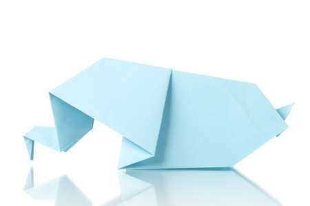 Origami elephant out of the blue paper isolated on white photo