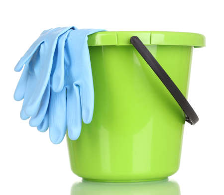household objects equipment: Bucket and gloves for cleaning isolated on white Stock Photo