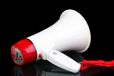 red and white megaphone isolated on black Stock Photo - 13687933