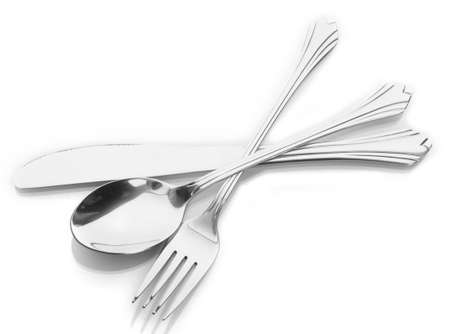 Silver fork and spoon, knife isolated on white photo