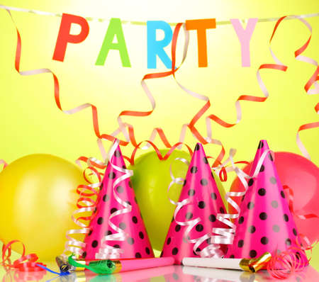 anniversary backgrounds: Party items on green background Stock Photo
