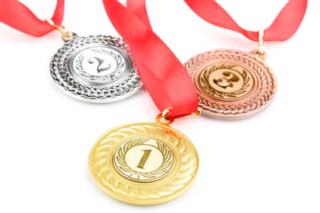 Three medals isolated on white Stock Photo - 13688286