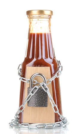 Secret ingredient with chain and padlock isolated on white photo