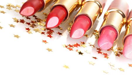 glans: vackra läppstift isolerade på vit Stockfoto