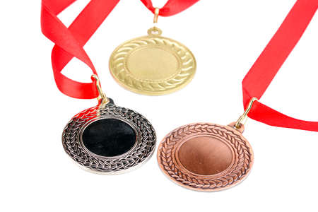 Three medals isolated on white Stock Photo - 13810131