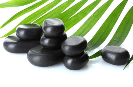Spa stones and green palm leaf isolated on white photo
