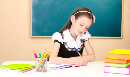 little schoolchild in classroom write in notebook Stock Photo - 14559176