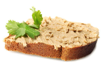 Fresh pate on bread isolated on white photo