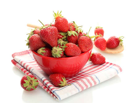 sweet ripe strawberries in bowl isolated on white Stock Photo - 13870733
