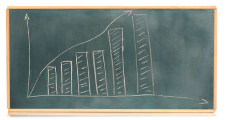 Growth chart is drawn on the blackboard isolated on white Stock Photo - 13870846