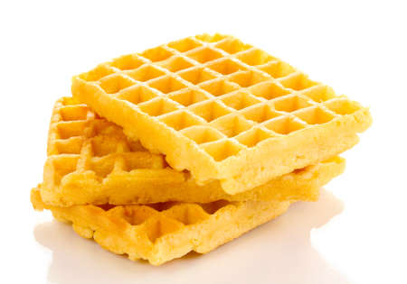 Sweet waffles isolated on white photo