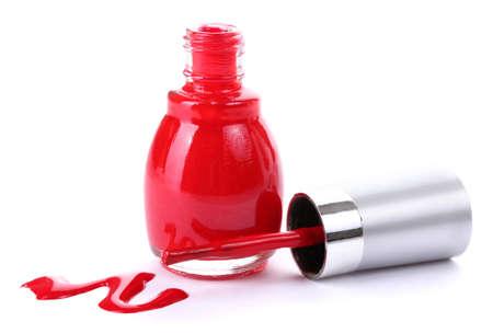 nail polish background: red nail polish isolated on white