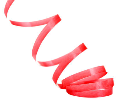 beautiful red streamer isolated on white
