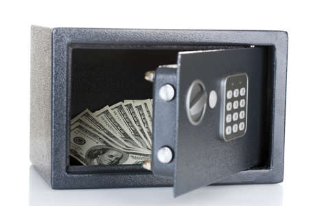 safe with dollars isolated on white  Stock Photo